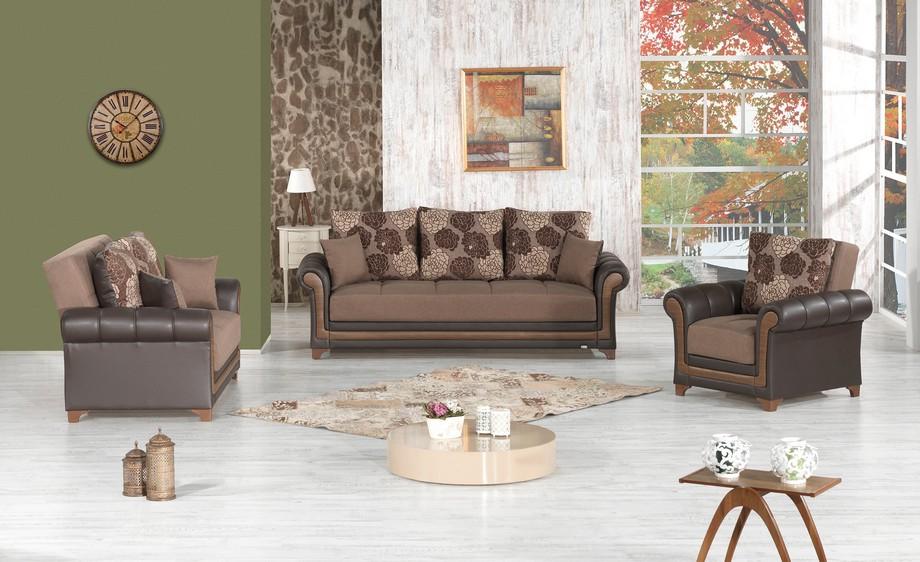 Mẫu sofa Châu Âu thiết kế hiện đại thanh lịch với tông màu nâu trầm