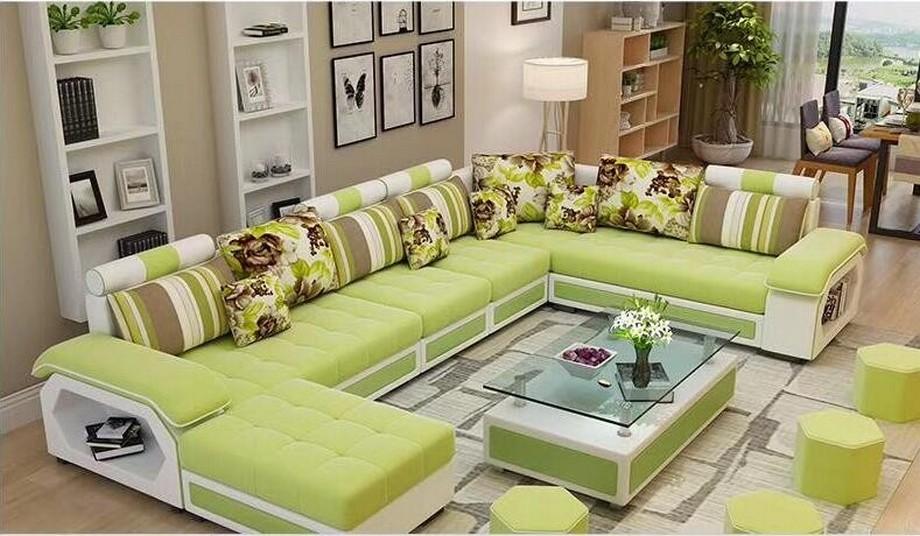 mẫu sofa Châu hiện đại hình chữ U có màu xanh lá mạ