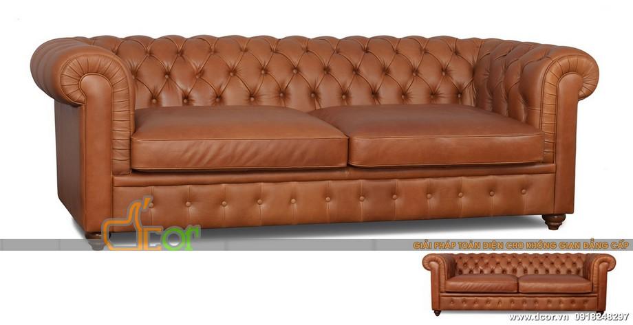 Sofa văng tân cổ điển nhập khẩu Malaysia chất liệu da bò thật