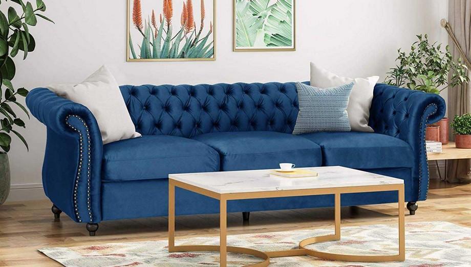 Sofa vải nỉ tân cổ điển nhập khẩu màu xanh nổi bật