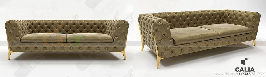 Sofa văng tân cổ nhập khẩu Italia màu vàng, xanh ấn tượng