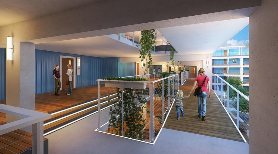 ỗi căn hộ sẽ được trang bị một sân riêng, sẽ được đặt so le để tạo ra một mức độ khác nhau trong mặt tiền.