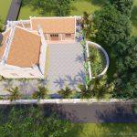 Thiết kế nhà thờ họ 3 gian 2 mái  kết hợp nhà ngang với khuôn viên đẹp ở Sơn La