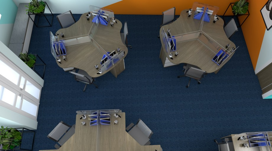 Bàn làm việc hình tam giác tại văn phòng ảo Hà Đông