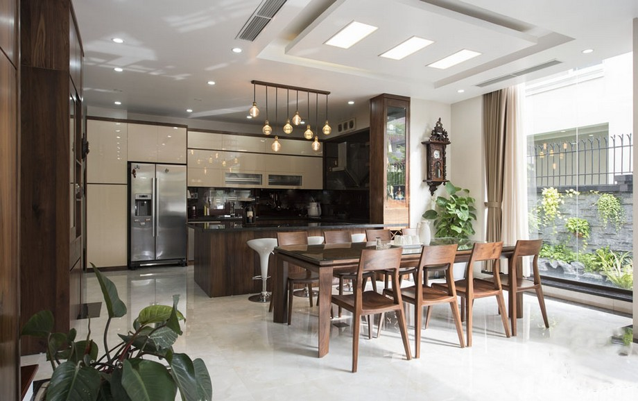 Mẫu thiết kế nội thất phòng bếp đẹp hiện đại ở biệt thự Vinhomes Ocean Park Gia Lâm