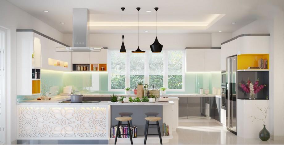 Mẫu thiết kế nội thất phòng bếp hiện đại, trẻ trung ở biệt thự Vinhomes Ocean Park Gia Lâm