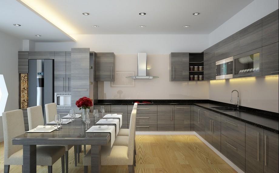 Mẫu thiết kế nội thất phòng bếp và phòng ăn phong cách hiện đại ở biệt thự Vinhomes Ocean Park Gia Lâm