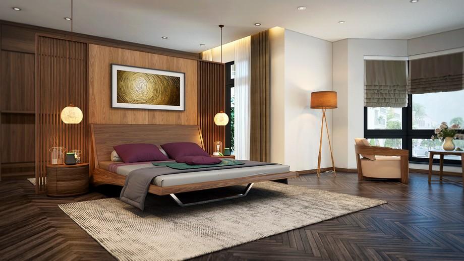 Mẫu thiết kế nội thất phòng ngủ gỗ óc chó đẹp ở biệt thự Vinhomes Ocean Park Gia Lâm