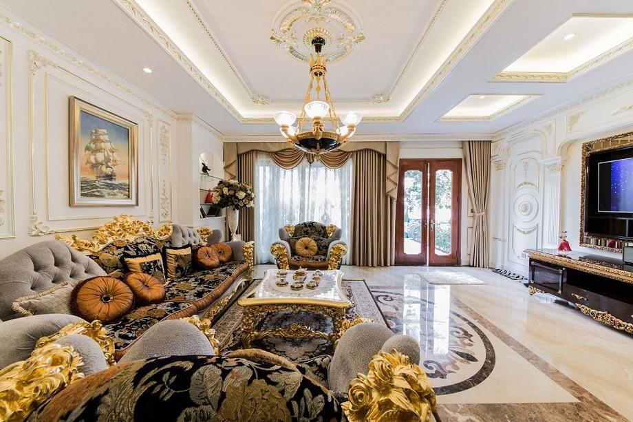 Mẫu thiết kế nội thất phòng khách cổ điển đẹp ở biệt thự Vinhomes Ocean Park Gia Lâm