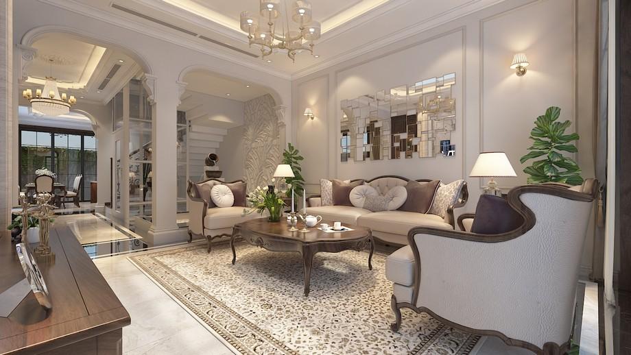 Mẫu thiết kế nội thất phòng khách tân cổ điển đẹp ở biệt thự Vinhomes Ocean Park Gia Lâm