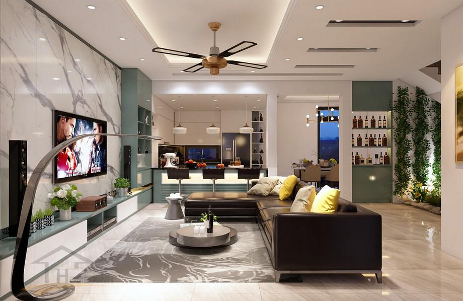 Mẫu thiết kế nội thất phòng khách hiện đại đẹp ở biệt thự Vinhomes Ocean Park Gia Lâm