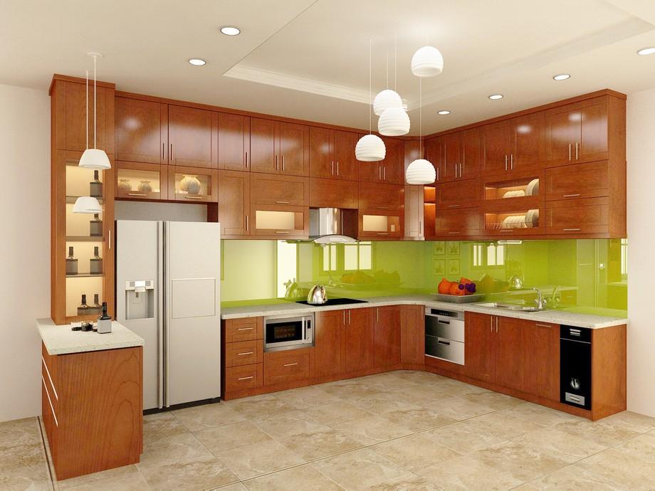 Mẫu thiết kế nội thất phòng bếp gỗ xoan đào đẹp chữ U ở biệt thự Vinhomes Ocean Park Gia Lâm