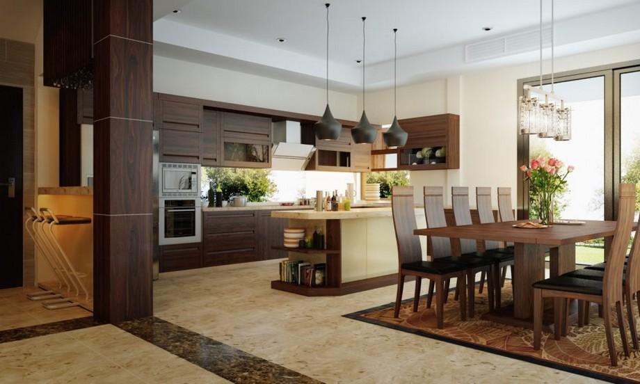 Mẫu thiết kế nội thất phòng bếp + phòng ăn gỗ óc chó đẹp ở biệt thự Vinhomes Ocean Park Gia Lâm