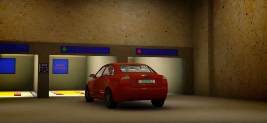 Tầng trệt của bãi đỗ xe thông minh được bố trí với 3 vị trí trống