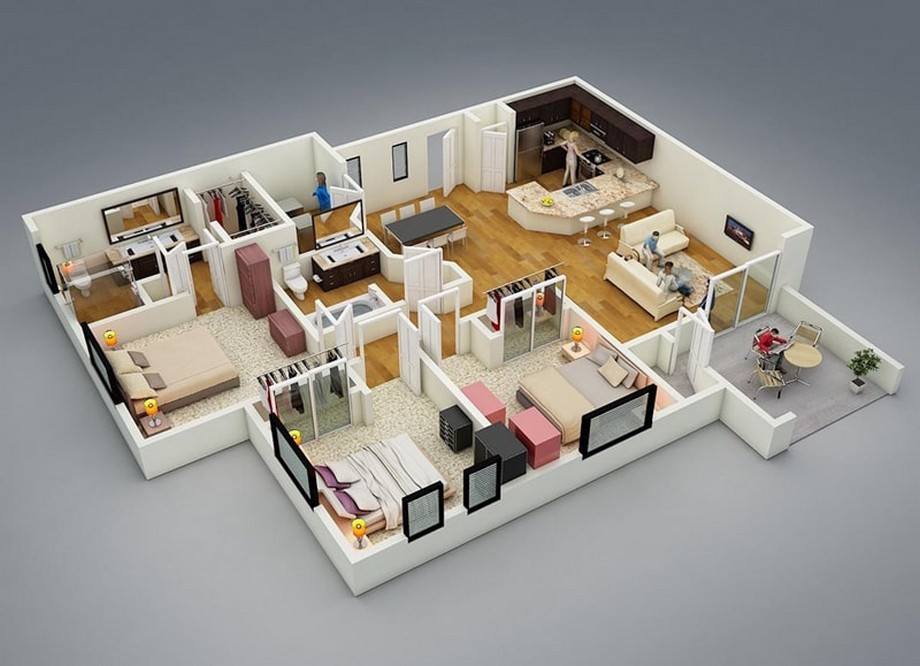 Mô phỏng căn hộ chung cư 3 phòng ngủ Vinhomes Ocean Park Gia Lâm