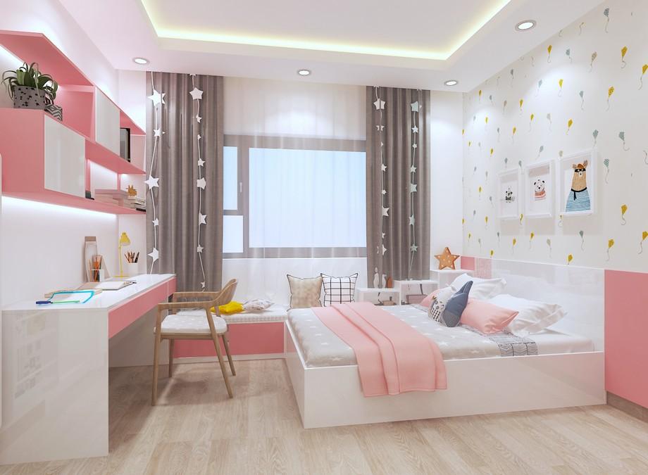 Phòng ngủ bé gái căn hộ chung cư 3 phòng ngủ Vinhomes