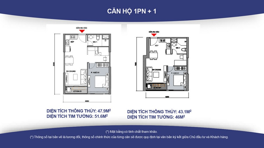 Mặt bằng căn hộ 1 phòng ngủ + 1 chung cư Vincity Gia Lâm