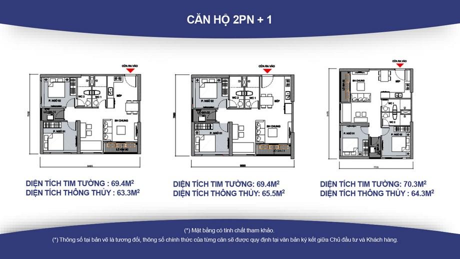 Mặt bằng căn hộ 2 phòng ngủ + 1 chung cư Vincity Gia Lâm