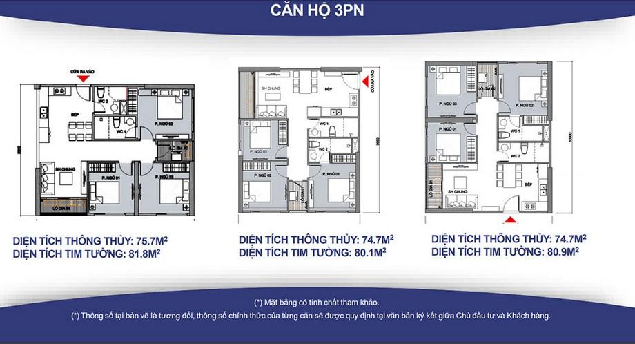 Mặt bằng căn 3 phòng ngủ chung cư Vincity Gia Lâm
