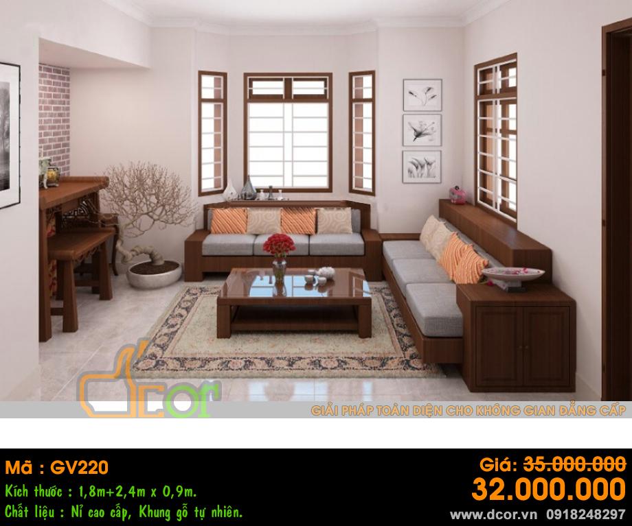 Sofa gỗ vải nỉ hiện đại
