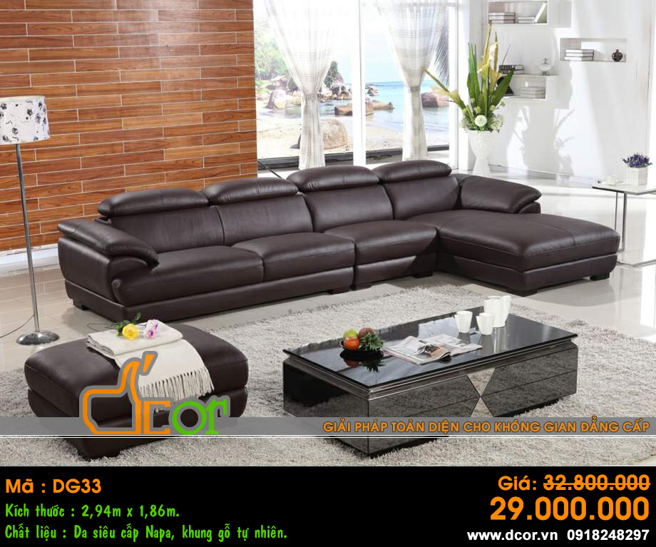 Sofa góc da màu đen sang trọng