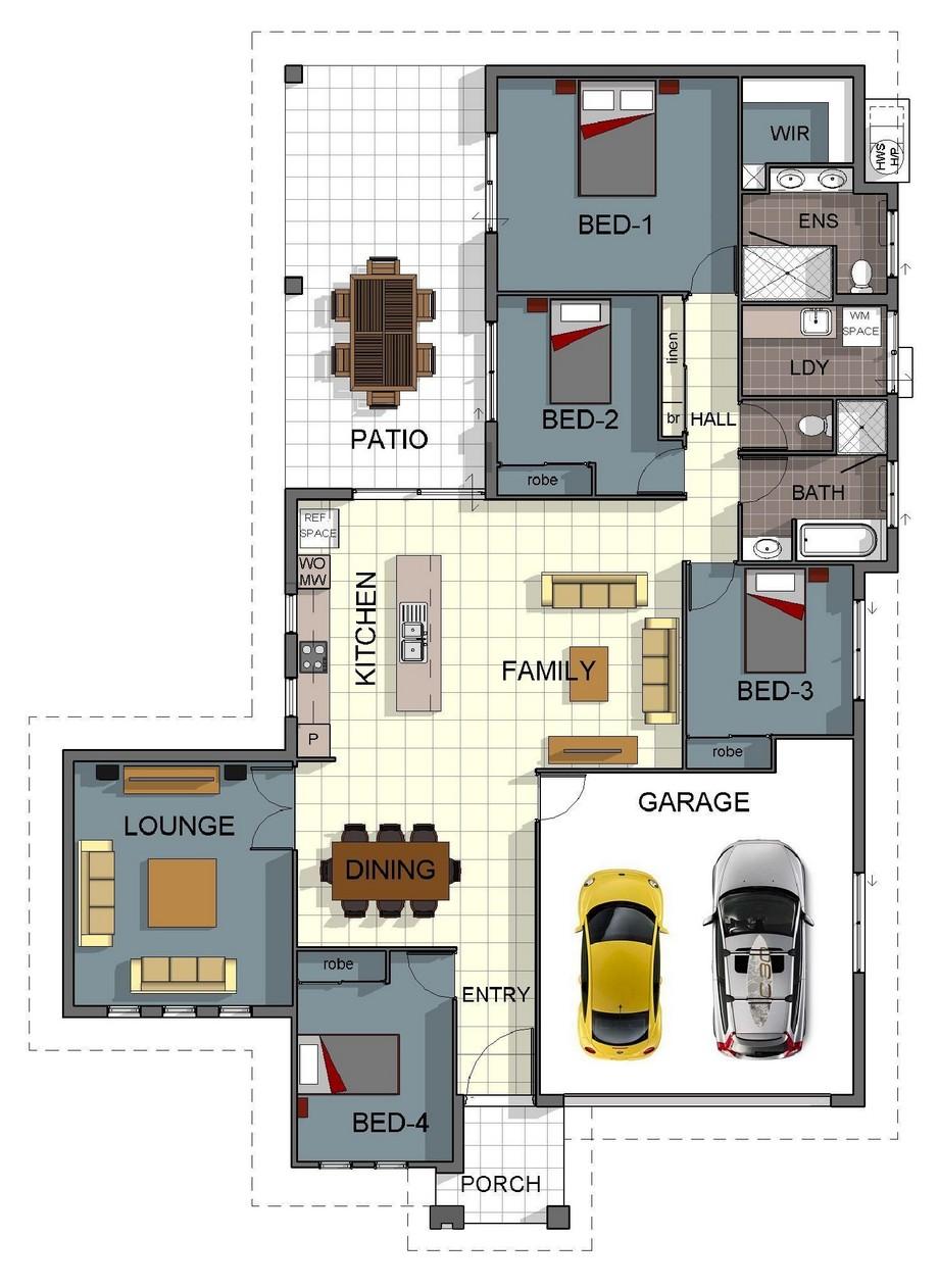 Bản vẽ thiết kế biệt thự vườn với phòng khách, bếp, phòng ăn, 4 phòng ngủ, 1 phòng thư giãn, không gian ngoài trời..