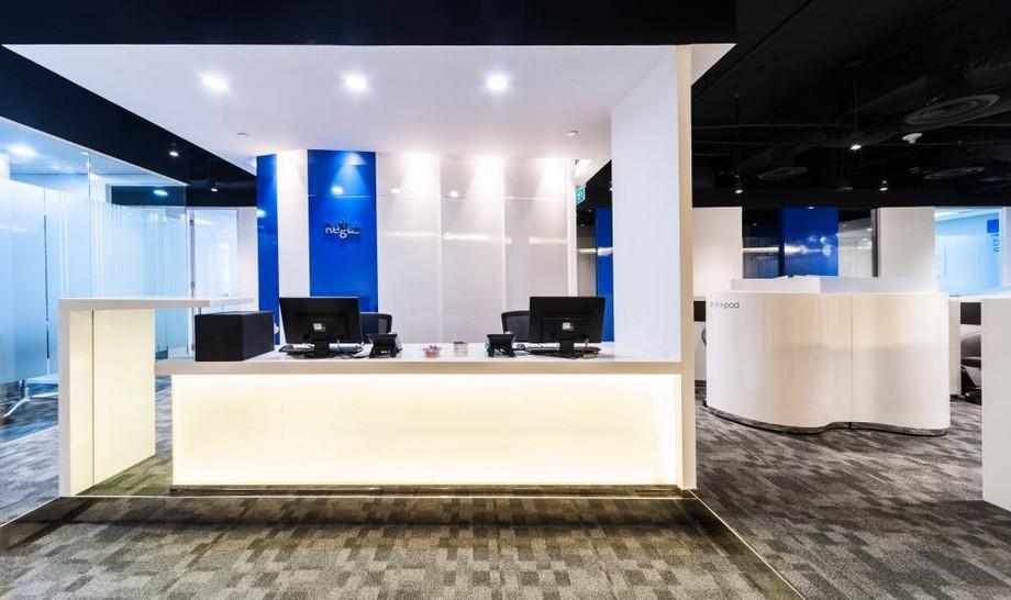 Thiết kế đẹp khu vực bàn lễ tân của của văn phòng ảo Regus Daehabusiness center
