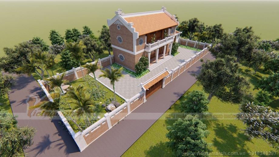 Mẫu thiết kế nhà thờ họ 2 tầng 3 gian 2 mái kết cấu bê tông sơn giả gỗ tại Hưng Yên
