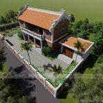 Thiết kế nhà thờ họ 2 tầng khang trang trên diện tích đất 300m2 ở Hưng Yên