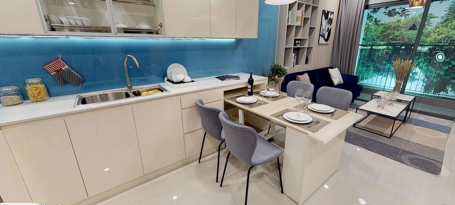 thiết kế bàn ăn và bếp hiện đại