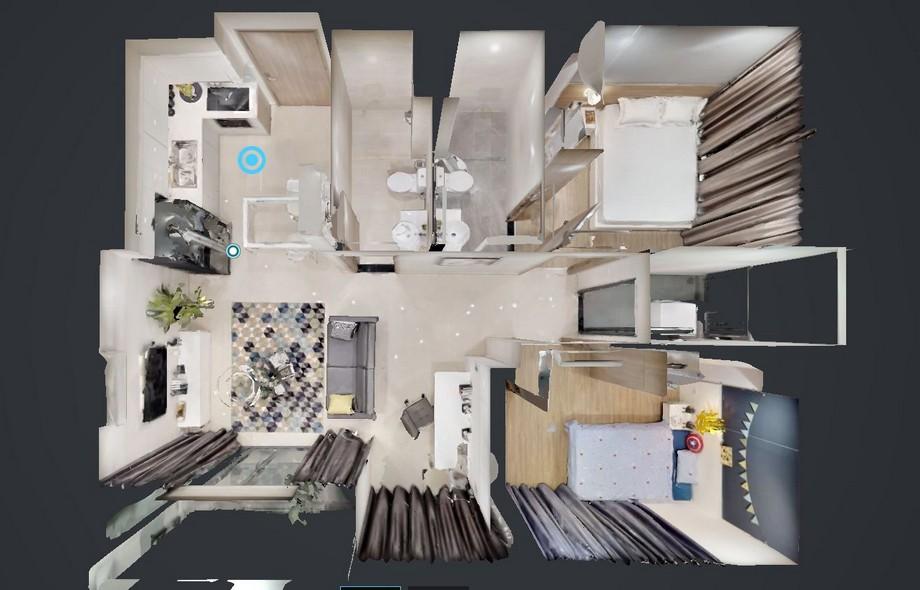 Hình ảnh mô phỏng thiết kế căn hộ 2 phòng ngủ đẹp hiện đại tiện nghi với đầy đủ chức năng cần thiết