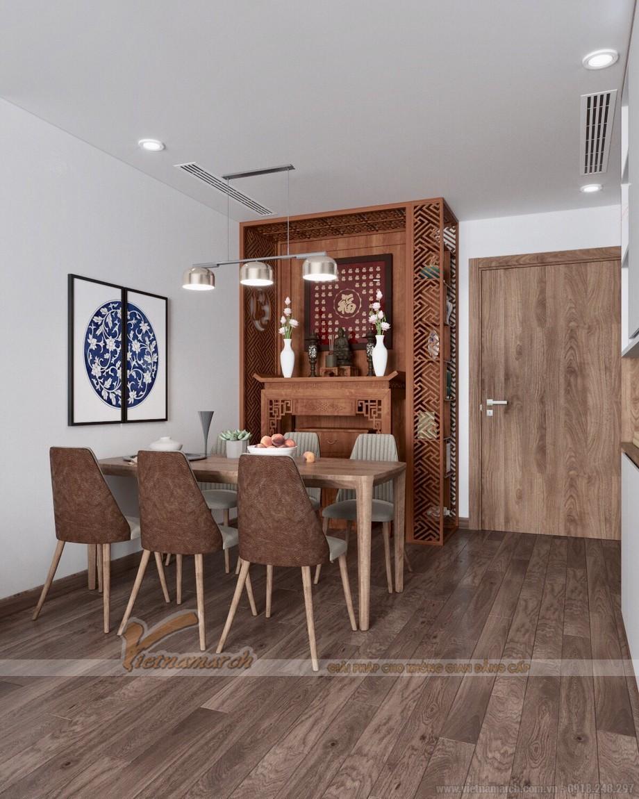 Thiết kế nội thất phòng thờ đẹp cho chung cư kết hợp phòng khách