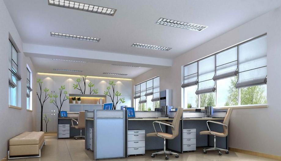 Thiết kế văn phòng 30m2 với ánh sáng tự nhiên và ánh sáng từ bóng đèn