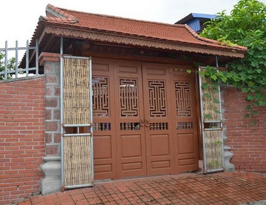 Cổng nhà gỗ đẹp 4 cánh