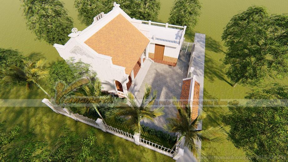 Mặt bằng và bản vẽ 3D nhà thờ họ nhỏ 3 gian 2 mái 40.6m2 kết hợp nhà bếp của chú Tạo Thanh Hóa