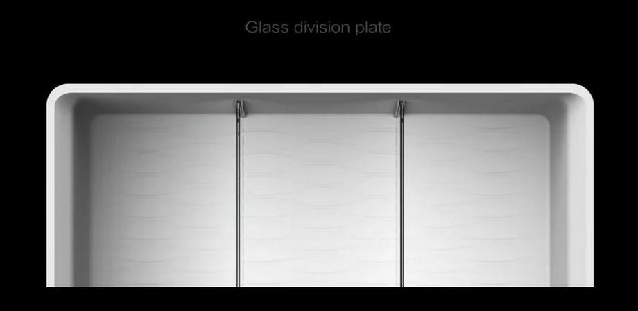 Các ngăn phân chia khoang tủ lạnh làm bằng kính
