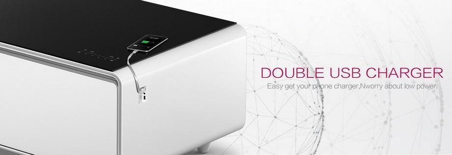 Mẫu bàn trà thông minh có kết hợp 2 cổng sạc USB