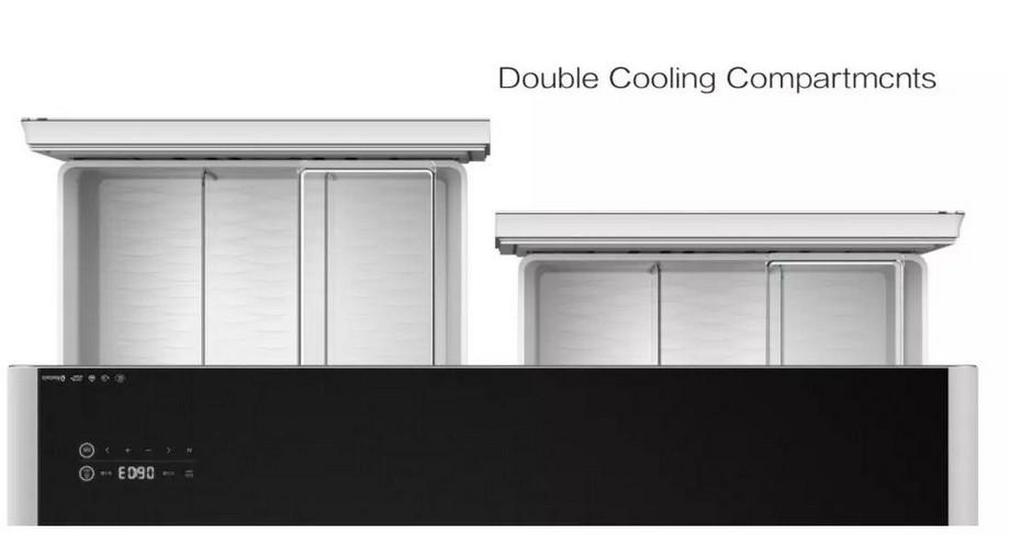 Mẫu bàn trà thông minh kết hợp tủ lạnh với thiết kế 2 ngăn