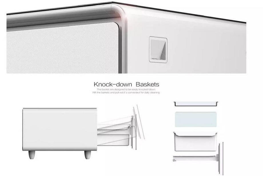 Mẫu bàn trà thông minh kết hợp tủ lạnh có thiết kế ngăn chứa đồ có thể tháo ra để vệ sinh hàng ngày một cách dễ dàng