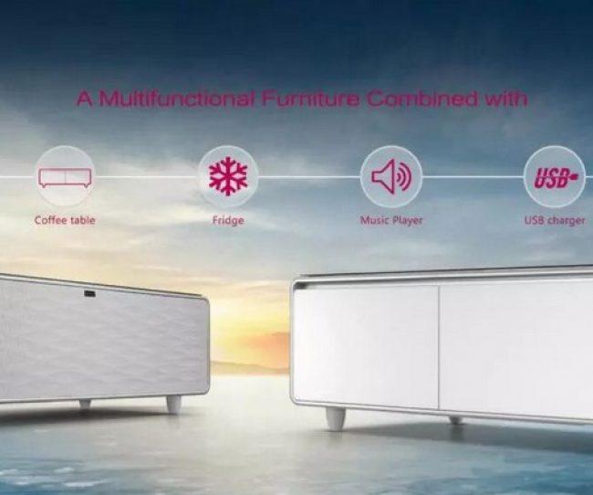 Mẫu bàn trà thông minh kết hợp tủ lạnh, máy phát nhạc, cổng sạc, loa bluetooth, đèn led