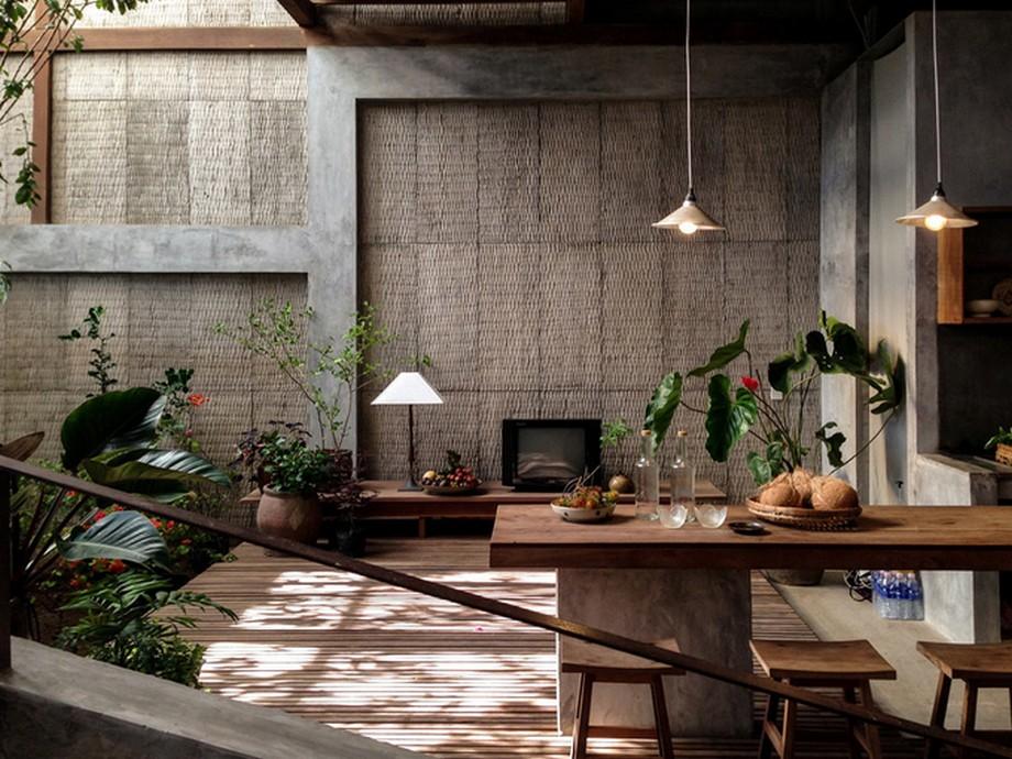 Không gian tầng 1 của nhà gỗ đẹp nhất An Giang được KTS biến thành không gian sinh hoạt chung lý tưởng vớinắng, gió, hồ nước và cây xanh...