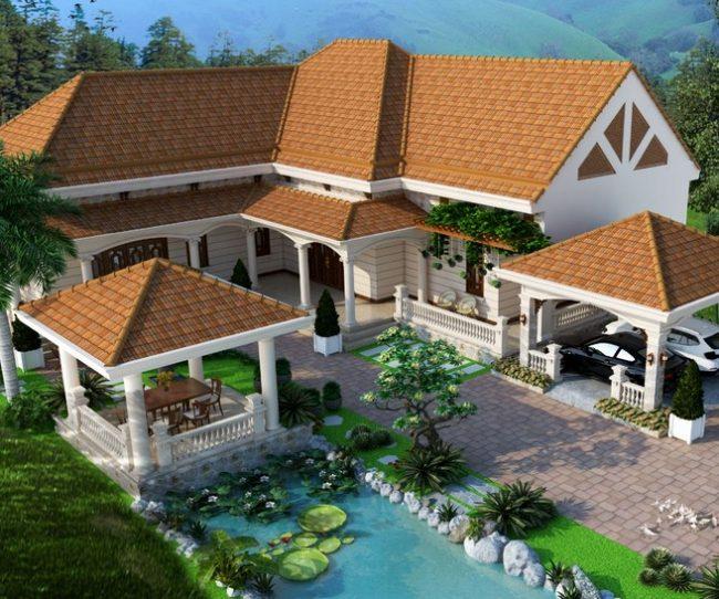 Thiết kế biệt thự sân vườn 300m2