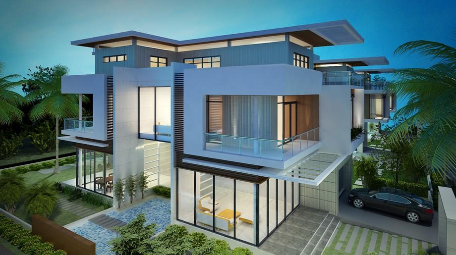 Thiết kế biệt thự sân vườn 300m2 3 tầng hiện đại với hệ thống cửa kính ấn tượng