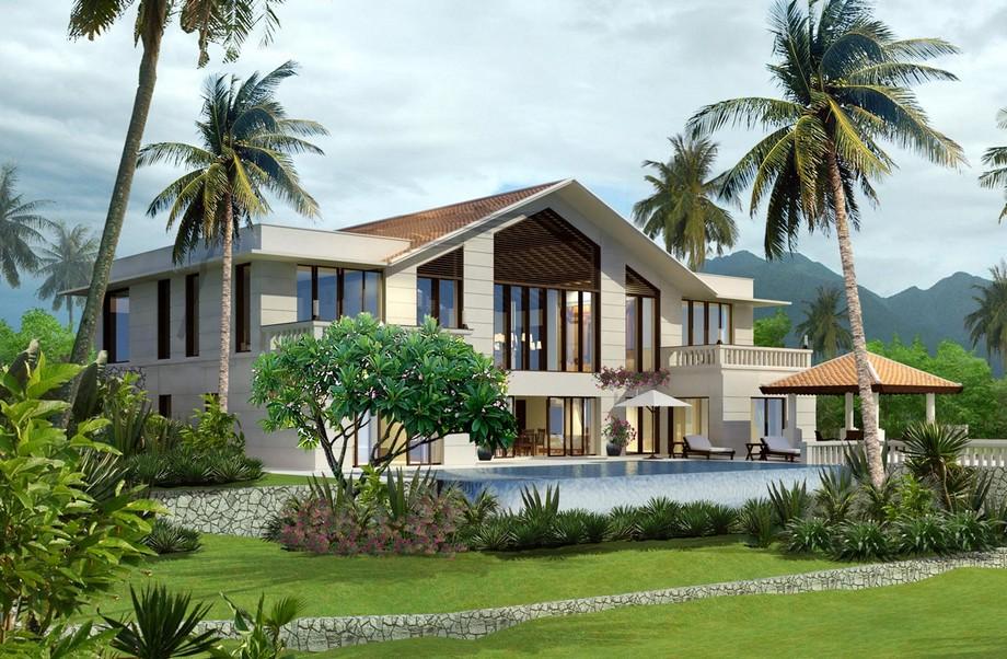Thiết kế biệt thự sân vườn 300m2 2 tầng có bể bơi phong cách hiện đại