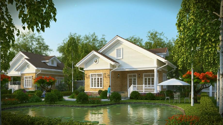 Mẫu thiết kế biệt thự sân vườn 300m2 mái thái với khuôn viên sân vườn xanh mát và hồ nước rộng lớn