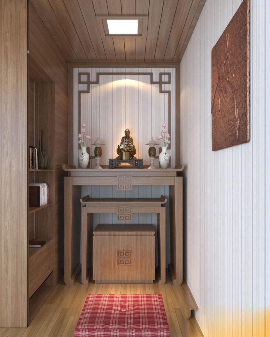 Thiết kế nội thất phòng thờ chung cư kiểu Nhật diện tích nhỏ với bàn thờ kiểu dáng đơn giản có giá sách bên cạnh