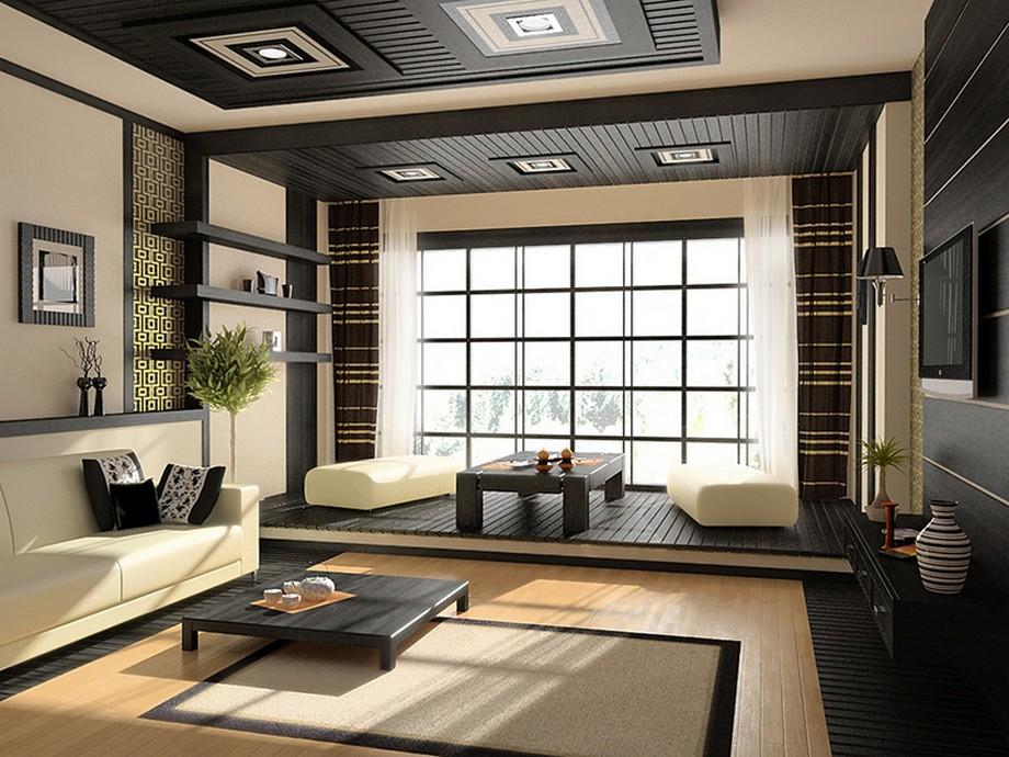 Thiết kế nội thất phòng khách chung cư kiểu Nhật tông màu vàng và đen, nội thất kiểu dáng thấp