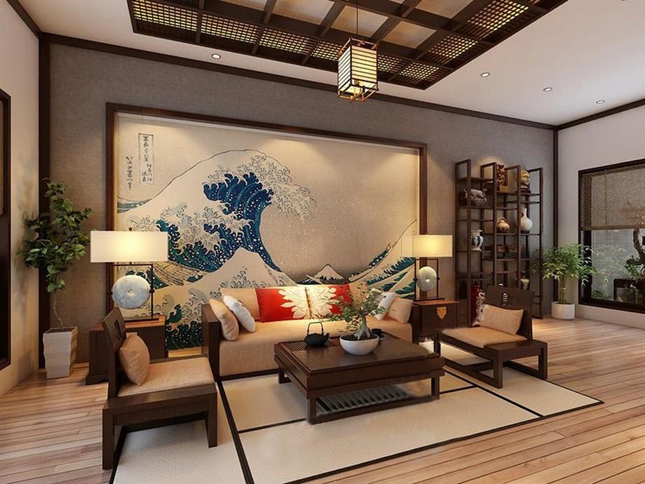 Thiết kế nội thất phòng khách chung cư kiểu Nhật với bộ sofa gỗ bọc vải nỉ, trang tri với bức tranh kiểu Nhật đặc trưng