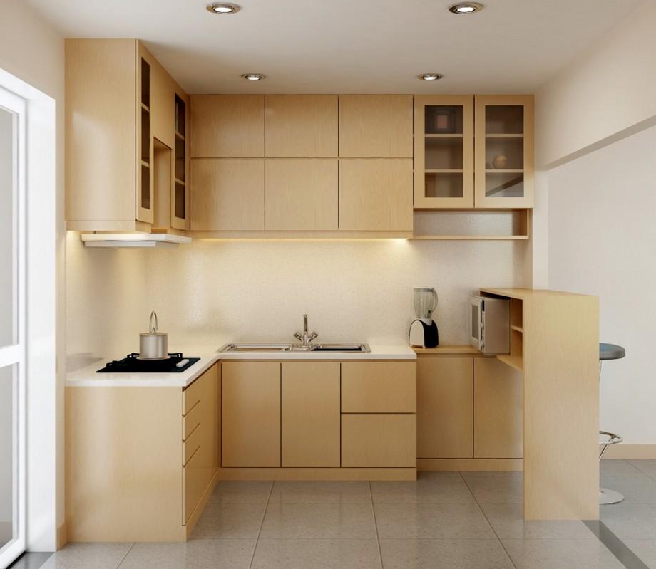 Thiết kế nội thất phòng bếp chung cư kiểu Nhật với tủ bếp nhỏ kịch trần tông màu gỗ tự nhiên sáng