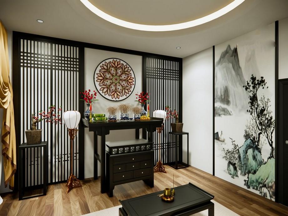 Thiết kế nội thất phòng thờ chung cư kiểu Nhật với đồ gỗ nội thất tông màu đen và bức tranh họa tiết ấn tượng